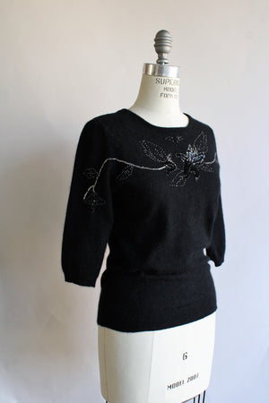 Vintage 1980s Does 1940s Angora Sweater with Keyhole Back and Beading
