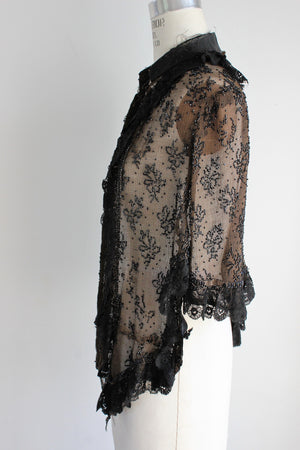 Vintage Antique 1800s Victorian Mourning Capelet Shawl