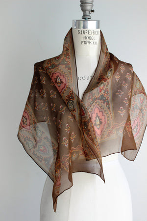 CLEARANCE: Vintage 1960s Scarf / Echo Scarf Sheer Brown Chiffon