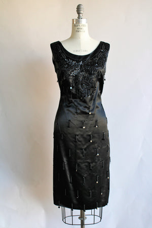 Vintage 1960s Satin Cocktail Dress with Beading