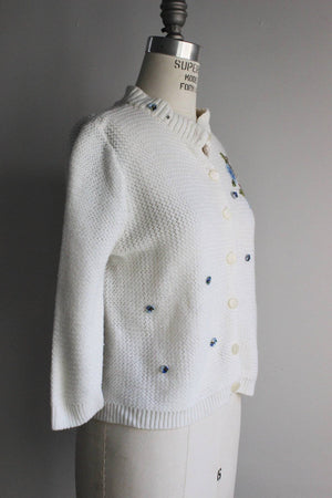 Vintage 1960s White Turbo Orlon Cardigan Sweater With Blue Flower Appliques