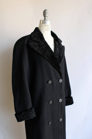 Vintage 1980s Black Wool Double Breasted Overcoat