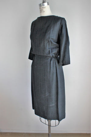 Vintage 1950s Wiggle Dress, Black Button Back