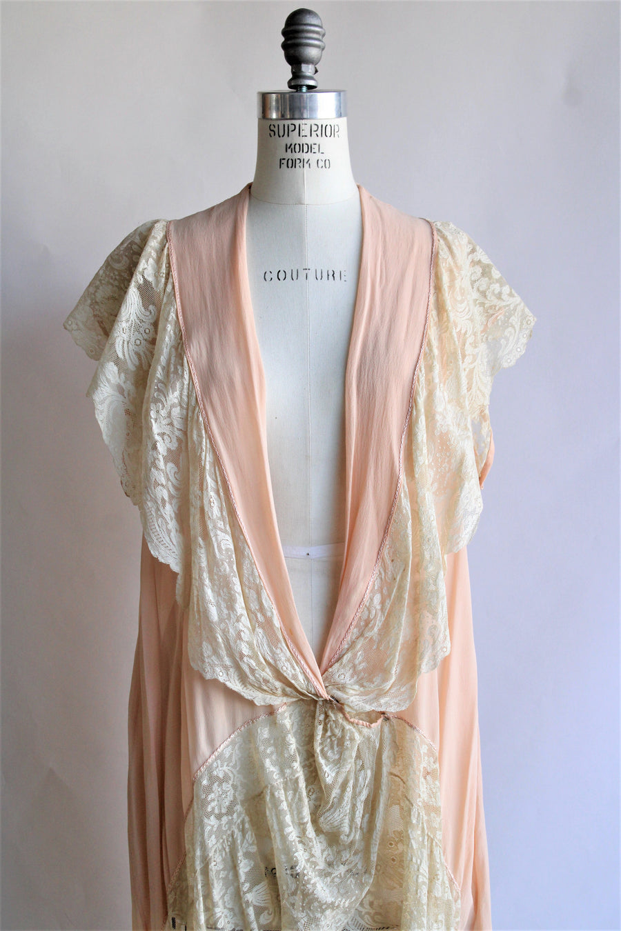 Vintage 1920s Silk Chiffon and Lace Boudoir Jacket