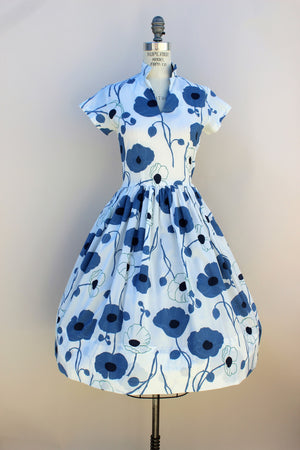 Vintage 1950s Blue Poppy Print Dress