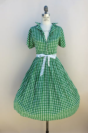 Vintage Late 1960s Green And White Houndstooth Dress