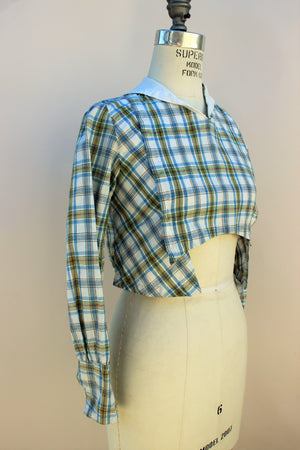 Vintage 1910s Armistice Blouse In Plaid Linen With Sailor Collar