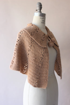 Vintage 1960s Chocolate Brown Knit Capelet