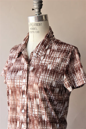 Vintage 1970s Top in Brown and White