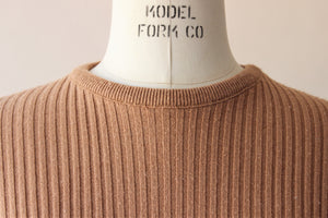 Vintage 1970s Light Brown Ribbed Pullover