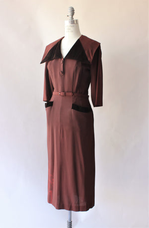 Vintage 1940s Brown Crepe Dress with Velvet Trim and Belt