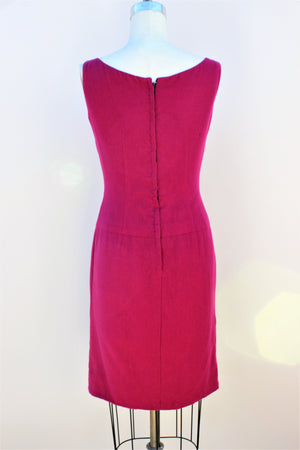 Vintage 1960s Raspberry Pink Wool Day Dress With Bow And Drop Waist