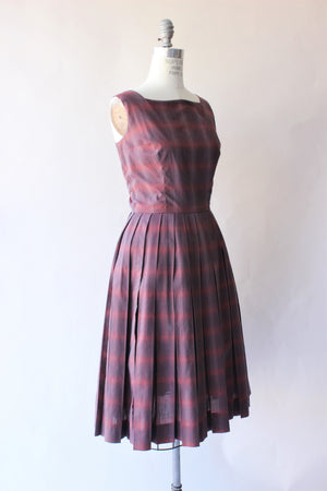 Vintage 1950s California Girl Plaid Dress