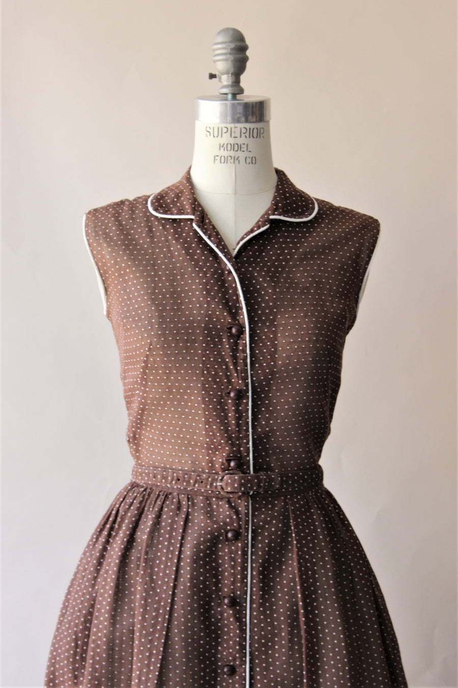 Vintage 1950s Brown Polkadot Dress
