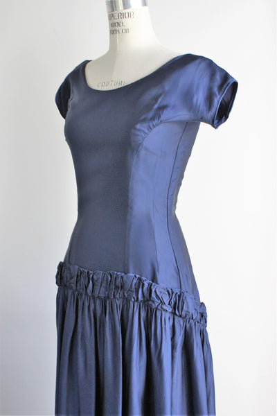 Vintage 1950s Navy Blue Party Dress / New Look Satin
