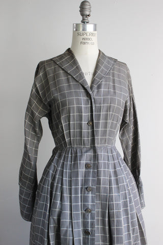 Vintage 1950s Shirtwaist Checked Dress With Pockets, Nelson-Caine