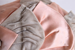 Vintage 1950s Peach Satin and Taupe Velvet Juliette Hat