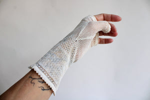 Antique Ivory Silk Lace Fingerless Gloves