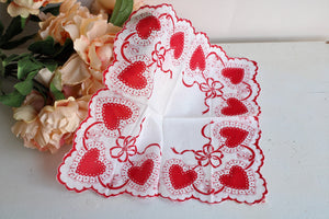 Vintage Valentines Day Heart Print Hanky