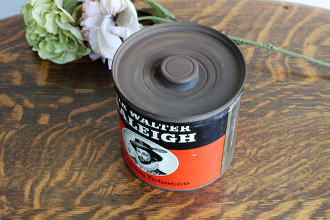 Vintage 1940s Tobacco 14 Oz Large Tin With Lid, Sir Walter Raleigh