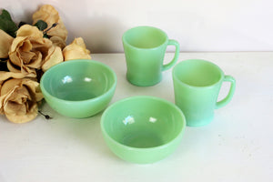 Vintage 1950s Jadeite Coffee Cups And Bowls
