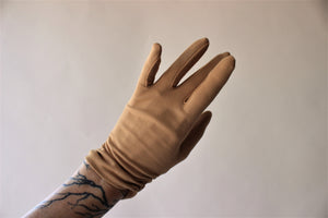 Vintage 1960s Light Brown Gloves, Size 6-6.5