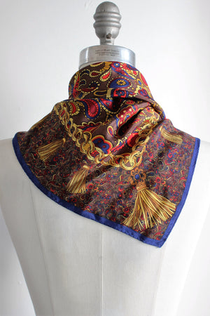 Vintage 1980s Silk Scarf / Large Square Paisley Print