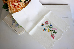 Vintage 1960s Linen Tea Towels, Embroidered With Flowers, Birds, Butterflies