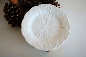 Set of Three White Vintage Leaf Pattern Plates