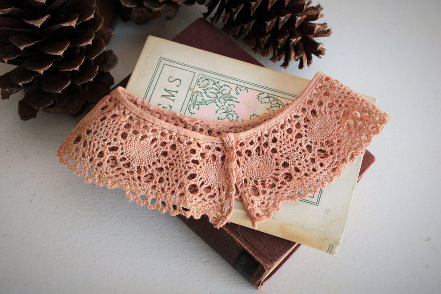 Vintage Crochet Lace Collar Naturally Plant Dyed Dusty Rose Pink