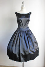 Vintage 1950s Black Silk Satin Dress / 50s Fit And Flare