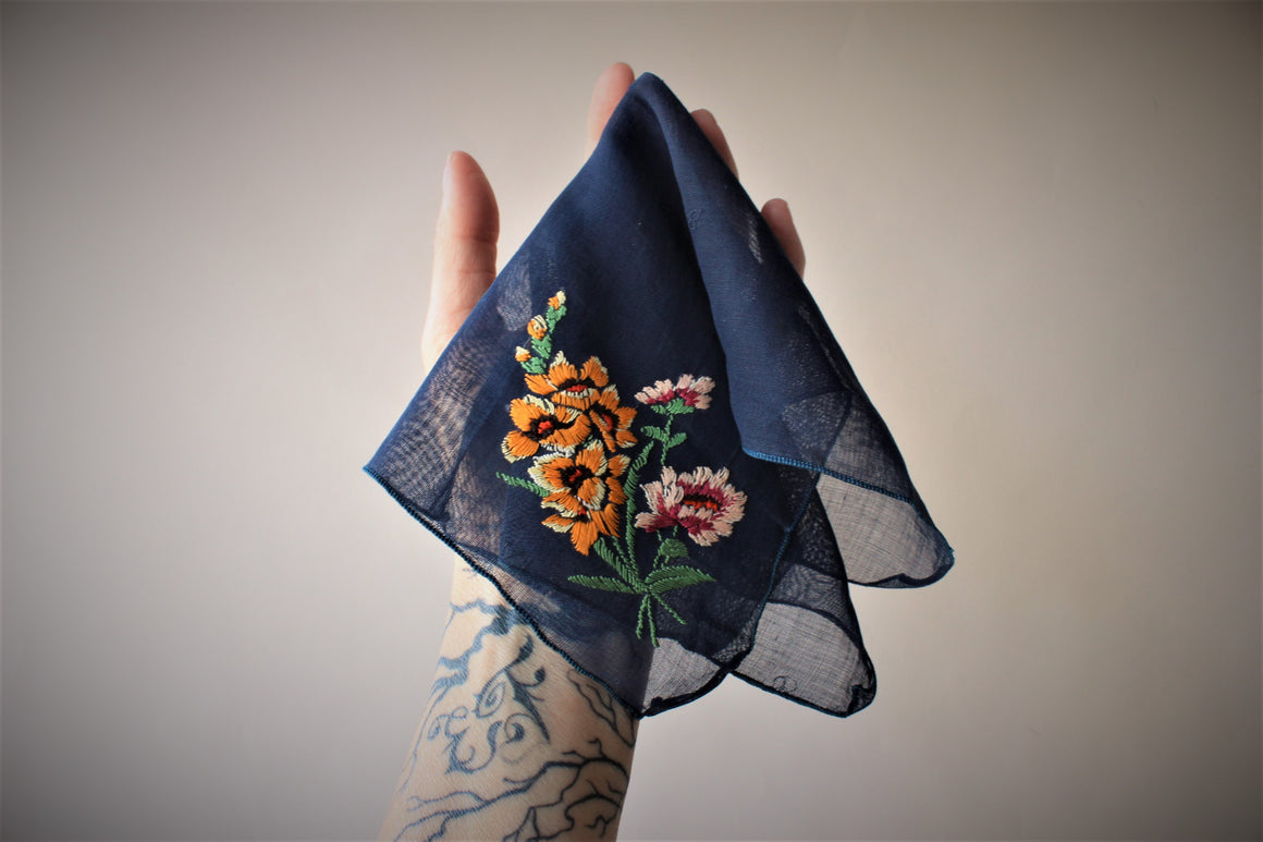 Vintage Navy Blue Embroidered Cotton Handkerchief