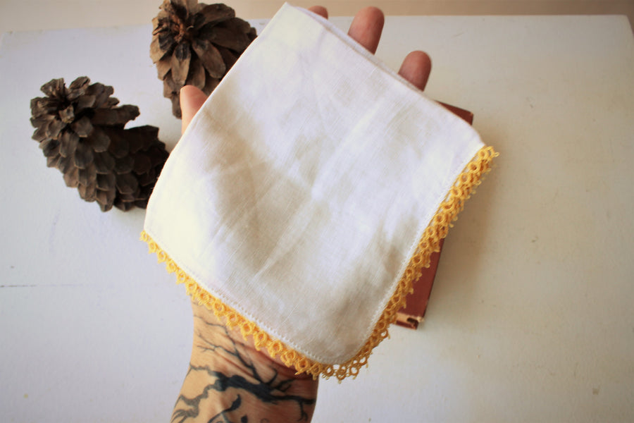 Vintage 1950s Linen Handkerchief With Yellow Trim