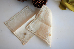 Copy of Set of Two Hand Plant Dyed Vintage Napkins in Dusty Ivory