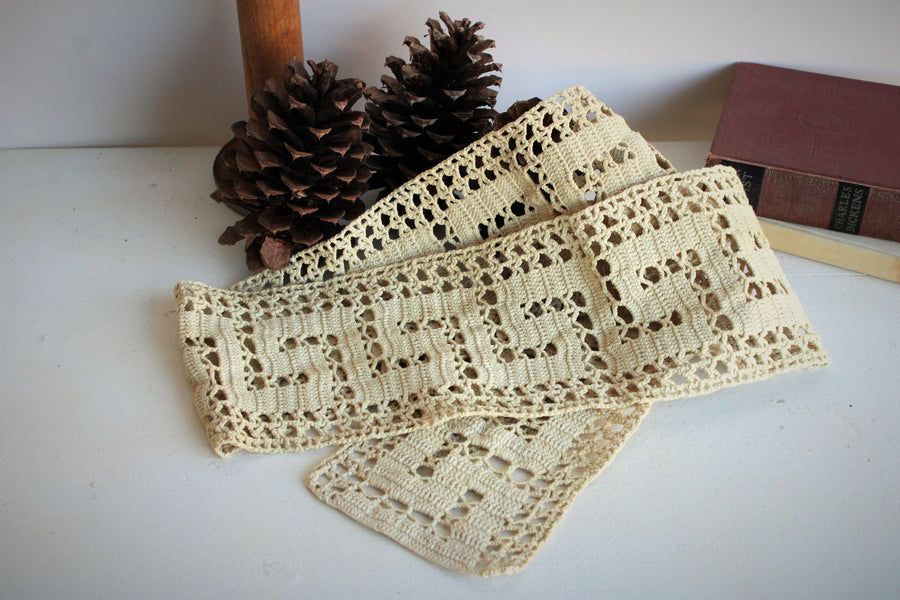 Naturally Plant Dyed Vintage Beige Crochet Lace