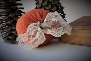 Mini Pumpkin Pillow Pouf with Vintage Lace and Wooden Stem