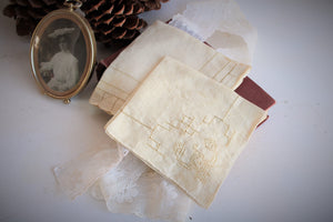 Set of Two Hand Plant Dyed Vintage Handkerchiefs in Dusty Ivory