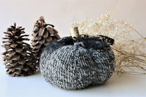 Pumpkin Pillow in Gray, Black and White, Embellished with Black Lace