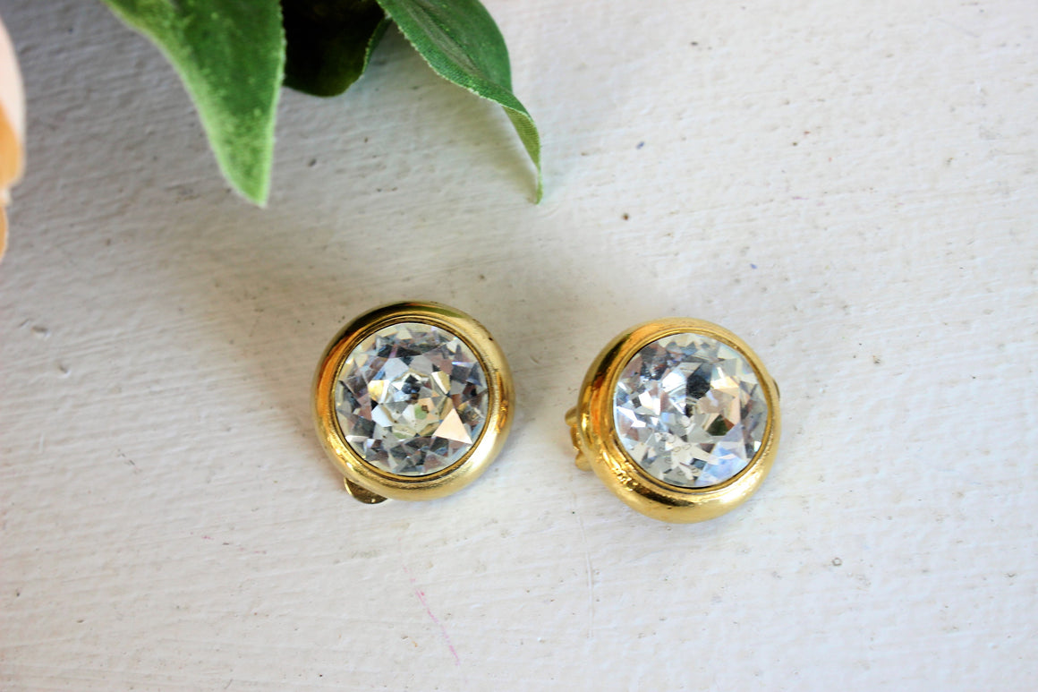 Vintage Rhinestone Earrings By Maresco / Clip On