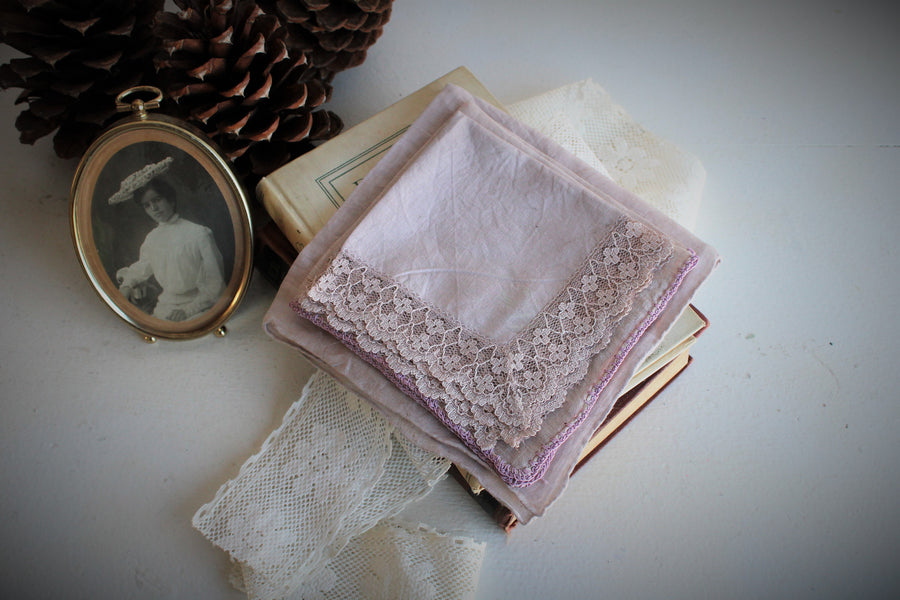 Set of Three Hand Plant Dyed Vintage Handkerchiefs in Silvery Lavender