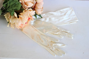 Vintage 1960s Ivory Stretch Satin Above the Elbow Length Gloves