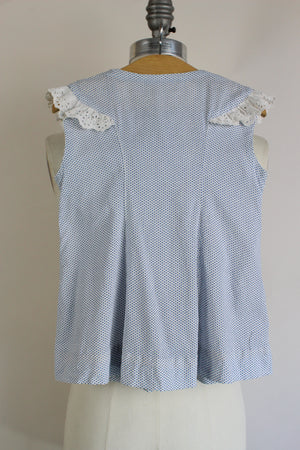 Vintage 1950s Blue And White Polkadot Cotton Baby Girl's Frock