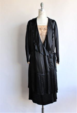Vintage Late 1910s Black Silk Satin Dress