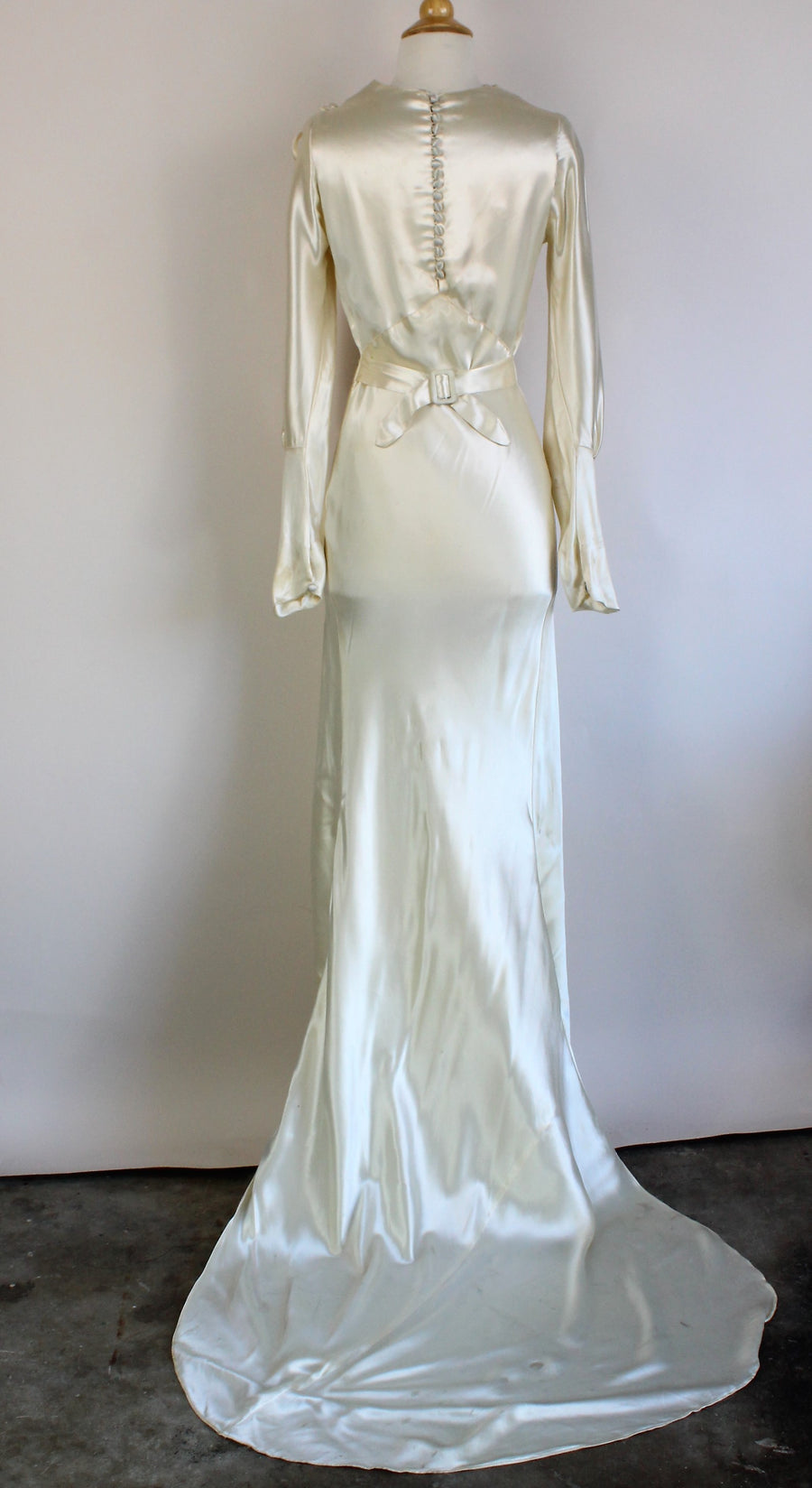 Vintage 1930s Ivory Satin Wedding Gown