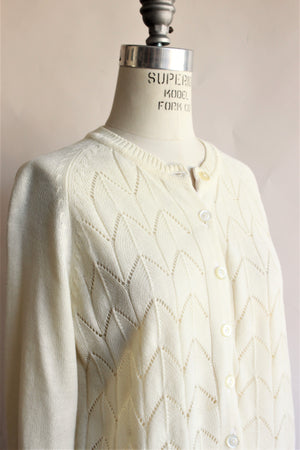 Vintage 1970s Pointelle Knit Sweater in Winter White