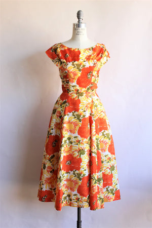 1950s Orange Poppy Print Dress