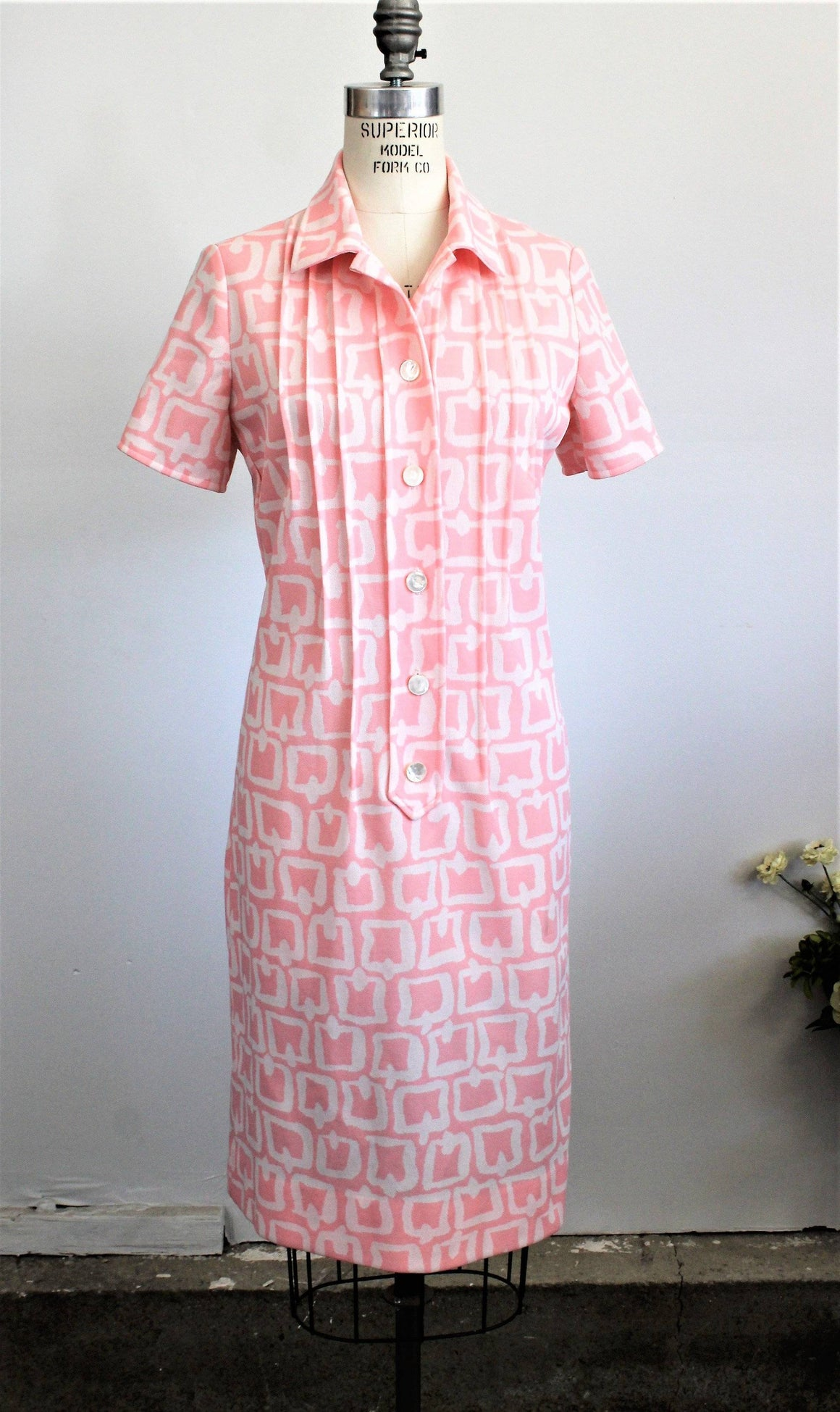 Vintage 1960s Pink And White Knit Mod Dress