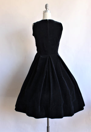 Vintage 1940s Black Velvet Fit and Flare Dress