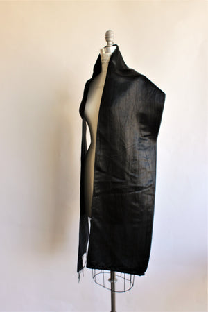 Vintage 1940s Black Satin Scarf or Wrap.