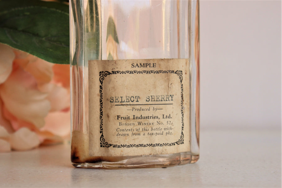 Vintage 1930s Fruit Industries Ltd Sherry Bottle